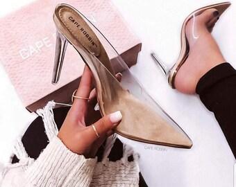 f66c42f53d1d Cinderella Clear Heels Cape Robbin Transparent Clear Heels Pumps Perspex  Heels High Heels Open Toes Heels Women s Party Shoes Nightclub Pump