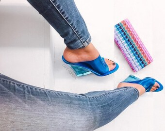 78c5c8987c81 Jelly Drop and Lemonade by Cape Robbin Transparent Clear Heels Pumps  Perspex Heels High Heels Open Toes Heels Wedge Women s Party Shoes