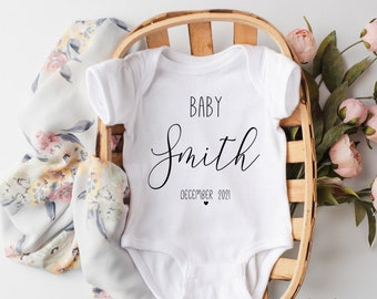 Perfect for revelaing pregnancy and announcing there/'s a baby on the way Simple Coming Soon Due Date Baby Onesie\u2122