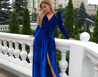 3a13bd31e587e Blue Wrap Velvet Dress,Velvet Wrap Dress,Long Sleeve Dress,Boho Gown,Maternity  Dress,Wedding Dress,Bridesmaid Velvet Dress