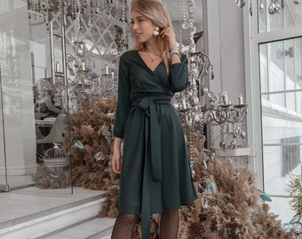 29a913b07aa Dark Green Short Dress