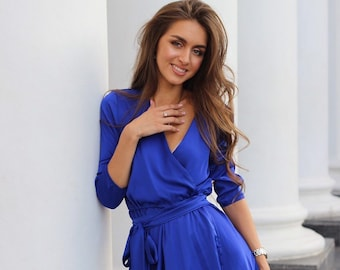 ab04e0f79da Blue Wrap Short Dress