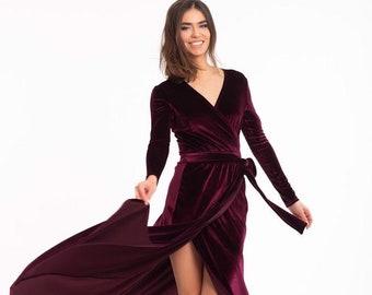 cdbd21ed0c8e0 Burgundy Wrap Dress,Velvet Wrap Dress,Long Sleeve Dress,Boho Gown,Maternity  Dress,Infinity Wedding Dress,Bridesmaid Dress, #067