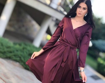 3e84e0034ab Burgundy Silk Short Dress