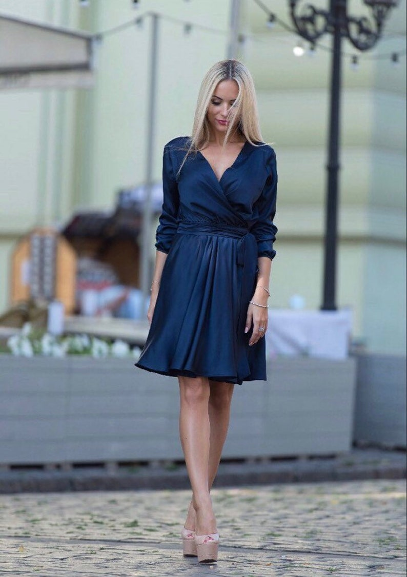 Navy Blue Silk Short Dress Summer Bridesmaid Dress Boho Gown Wedding Guest Dress Engagement Dress Airy Dress Silk Wrap Dress 060