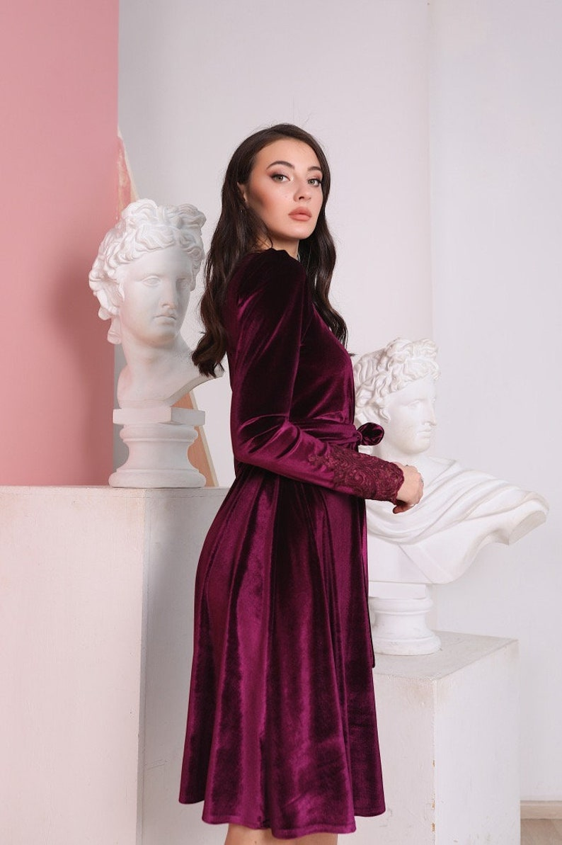 Bridesmaid Knee Length Dress Burgundy Velvet Dress A Line Short Dress Lace Incut Dress Long Sleeve Gown
