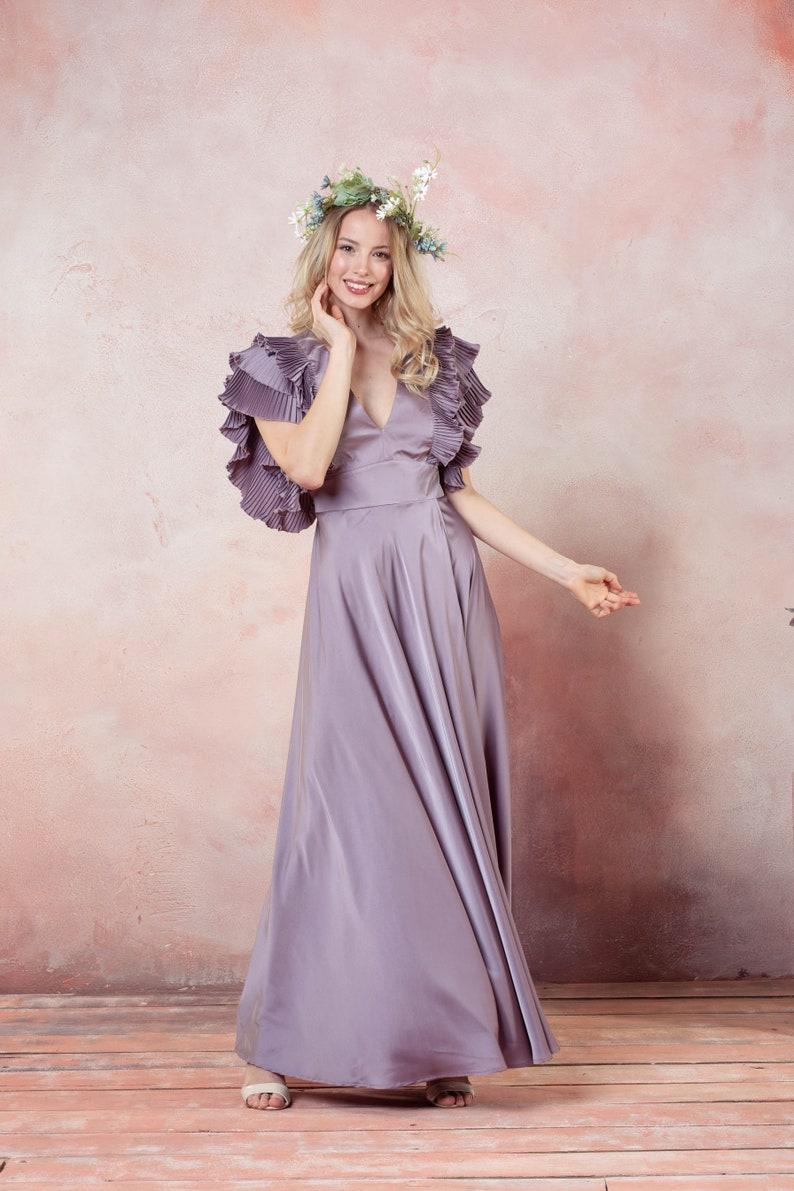 Mauve summer dress,Taupe Wedding guest dress,long graduation prom dress Long Mauve dress Flutter sleeve dress,V cut dress Long prom dress