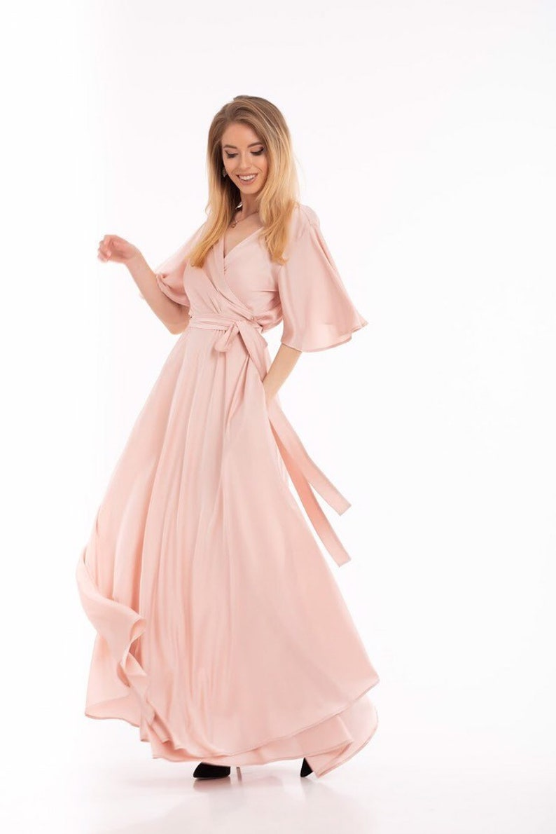 Pink Party Dress Flutter Sleeve Dress Boho Gown Bridesmaid image 0