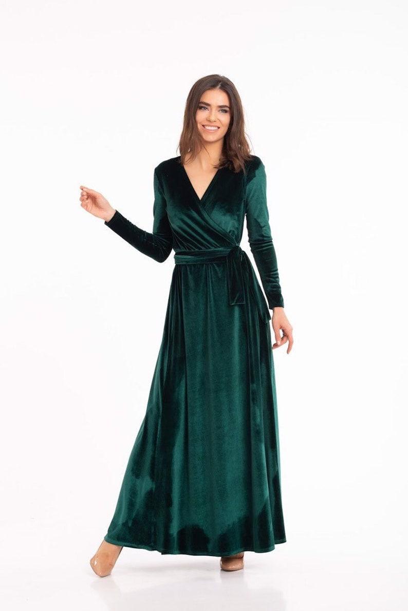 4b8103b32082 Green Wrap DressVelvet Wrap DressLong Sleeve DressBoho | Etsy
