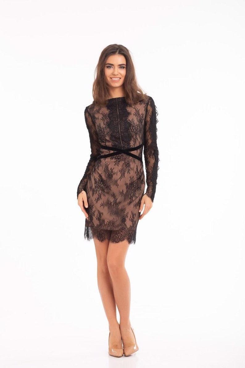 07aacda57e3c1 Black Lace Cocktail Dress,Long Sleeve Sheer dress,Lace Prom Dress,Short  Slim Dress,Boho Backless Dress,Open Back party dress,Sexy dress,#092