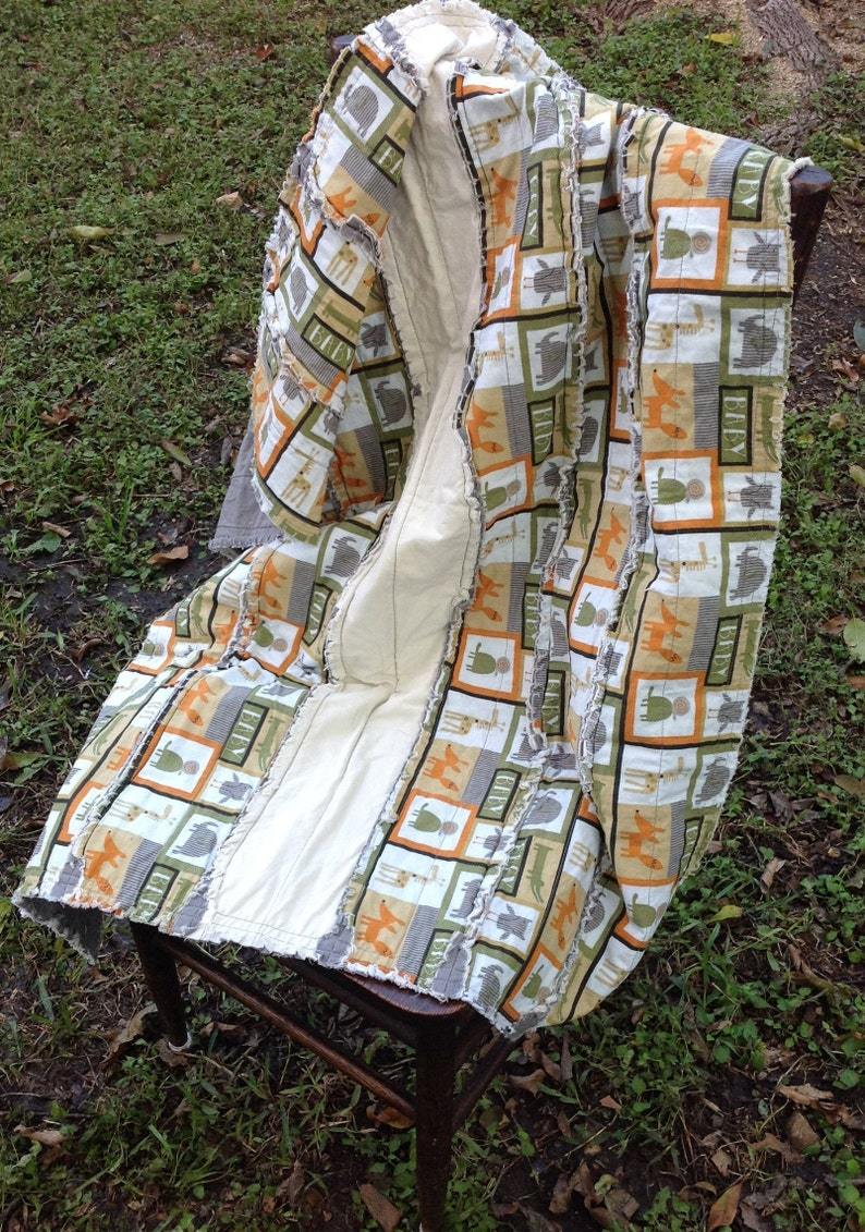 Baby Boy  Blanket Baby Boy Shower Gift All Cotton Quilt Green Baby Quilt Rag Quilt Baby Shower Gift Baby Rag Quilt,Animal Quilt