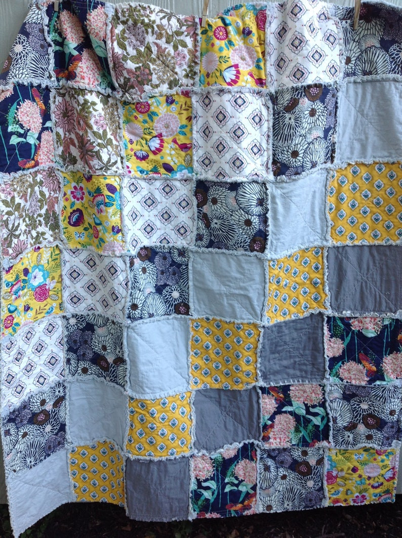 Bohemian Rag Quilt Rag Quilt snuggle blanket BohemianBlanket All Cotton Quilt Throw Size Rag Quilt Yellow Rag Quilt Gray Rag Quilt