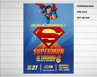 Superman Birthday Invitations Invitation Etsy