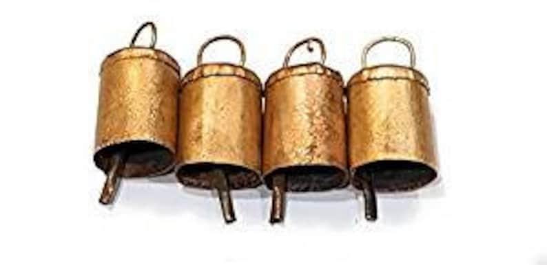 Multiple size DIY Wreath cattle bells rustic vintage style cow bells 10 Metallic bronze golden cylinder shaped bells windchime