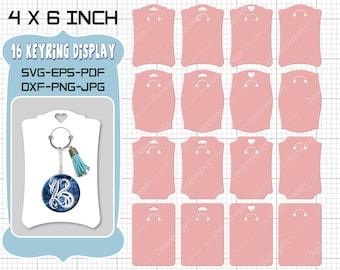 "Keyring Display Card "" 4 x 6 "" Template, Keyring Card SVG, Keychain Hang Tag, Cricut Silhouette, Key Ring Tag svg, Keyring template"
