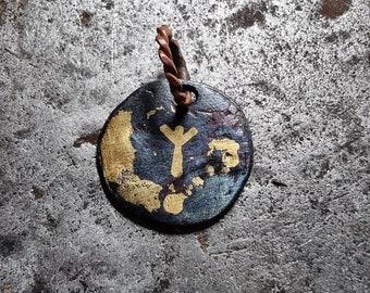 Hand Forged Algiz Protection Rune Viking Pendant or keyring