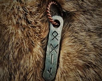 Hand Forged Odin Rune Viking Pendant