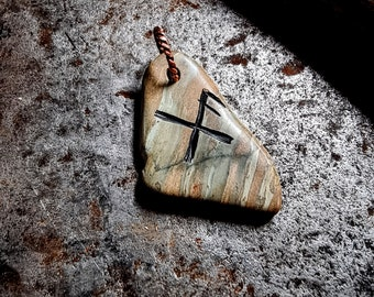 Hand Made Good Luck Rune Viking Pendant Orkney stone