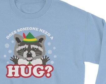 Elf Racoon Hug Christmas Sweatshirt