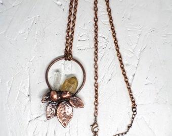 Crystal Quartz Fall Necklace / Quartz Leaf Holiday Pendant / Electroformed Jewelry