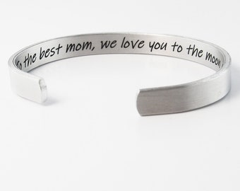 Personalized Bracelet, Engraved Silver Cuff, Inspirational Jewelry, Custom Quote Bracelet, Mom Bracelet, Mother Daughter Jewelry