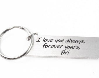 men's keychain engraved with your custom message, metal keyring, anniversary or Christmas gift for boyfriend or husband