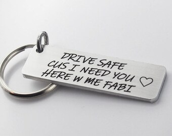 drive safe, engraved keychain with custom message, metal keyring, anniversary or Christmas gift for boyfriend or husband