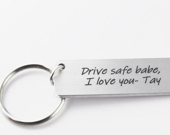 custom keychain, engraved with Drive safe babe or custom message, metal keyring, Christmas gift for boyfriend or husband