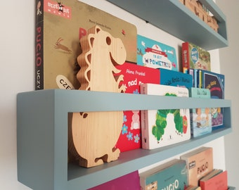 Children's bookshelf bookcase, Wall book shelf,  Montessori bookshelf, Nursery bookshelf, Colour bookshelves, Bücherregal