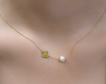 4e06f93c2 Clover Necklace, Floating Clover And Pearl On 14k Solid Gold Necklace,  Modern Clover Pearl Necklace, Pearl Necklace, Hoop Charm -21