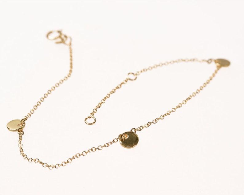 Gift For Her 14k Solid Gold Anniversary Gift Bracelet -145 Triple Disc Bracelet Layering Bracelet Graduation Gift Disc Chain Bracelet