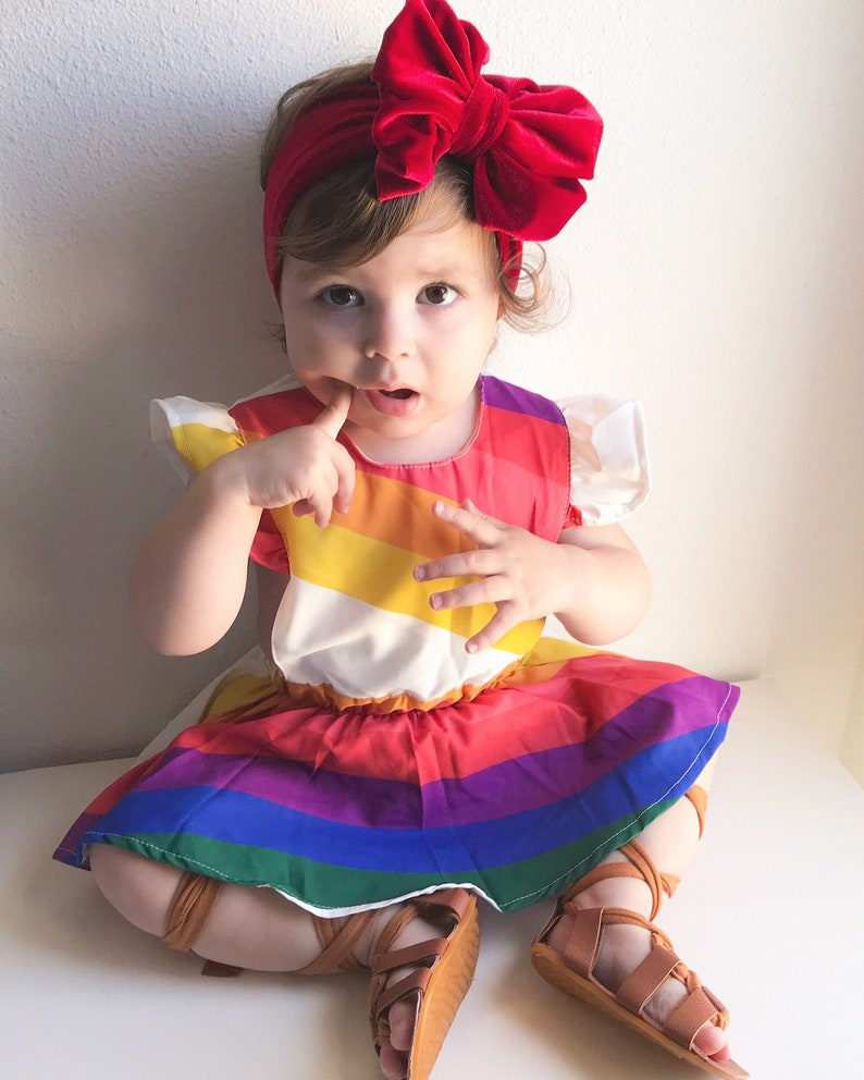 930af161a6b3e Baby and Girls Rainbow Dress Romper, Baby girl clothes
