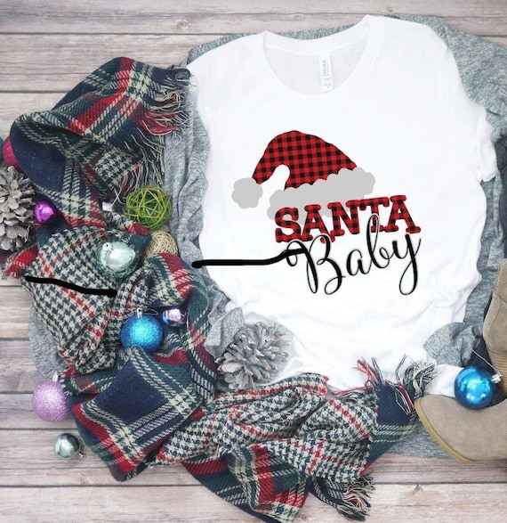 3d57e3ec6d8dd Santa Baby Christmas Holiday shirt-state christmas shirt-christmas  shirt-Holiday shirt-buffalo checked christmas shirt