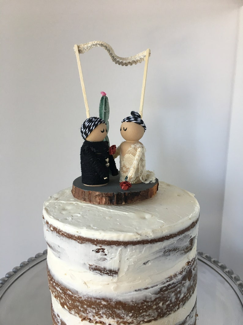 Wedding Cake Topper With Wooden Figurines Desert