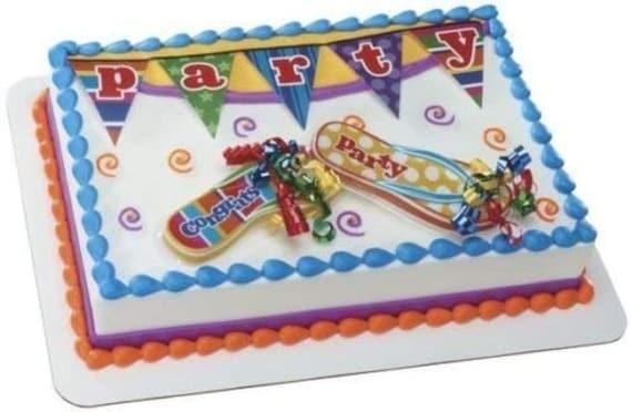 Brilliant Summer Flip Flops Birthday Cake Kit Plastic Cake And Cupcake Etsy Birthday Cards Printable Inklcafe Filternl