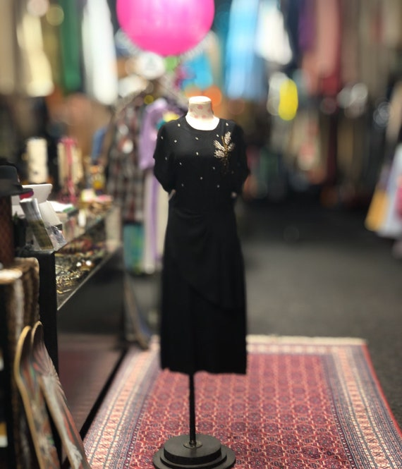 40s Black peplum dress with beaded flowers