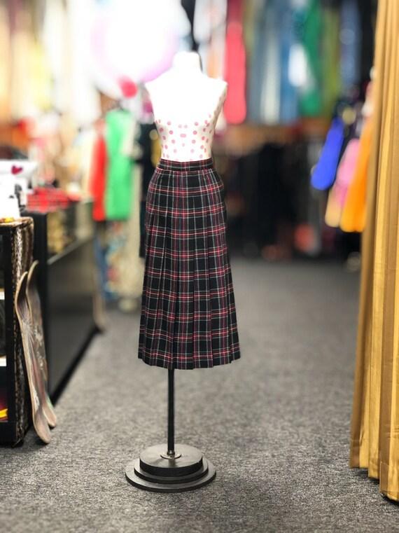 1980s LL bean plaid wool skirt