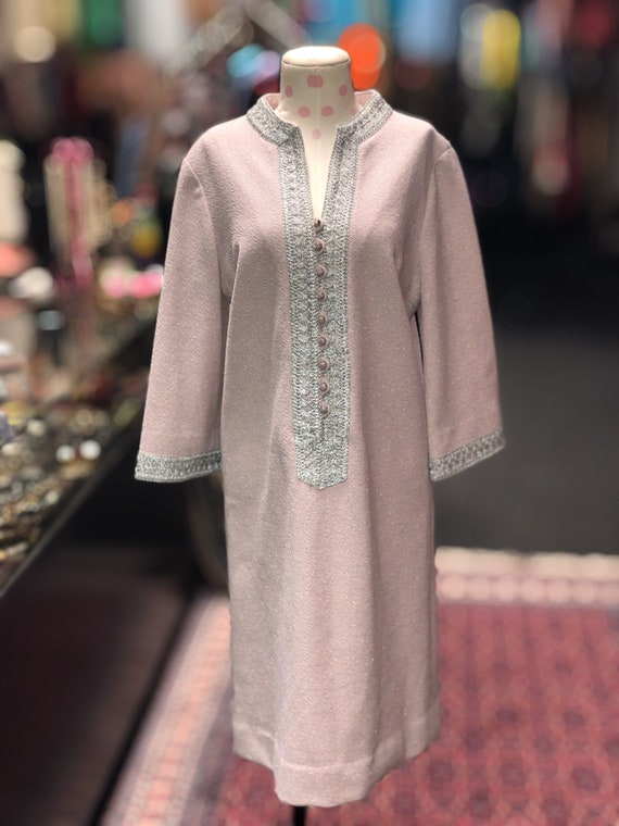 60s pink & silver bell sleeve shift dress by Nard… - image 2