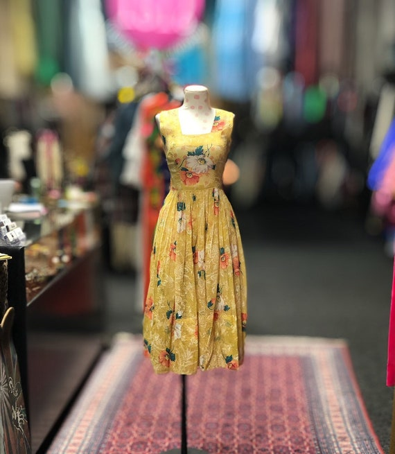 40s 50s sheer yellow floral summer dress