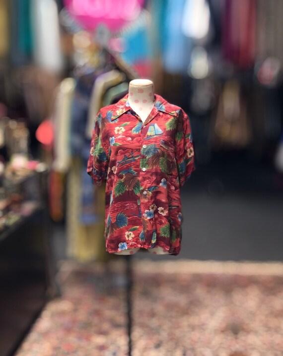 50s red rayon Hawaiian shirt by Aloha Coast to Coa