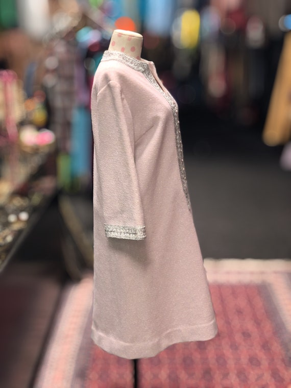 60s pink & silver bell sleeve shift dress by Nard… - image 3