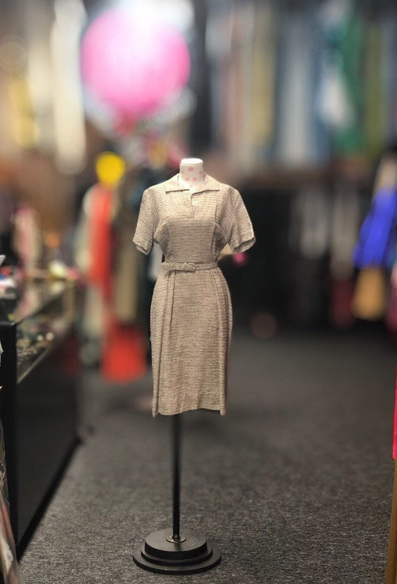 50s Tan & Brown Knit Dress with belt