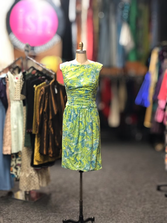 1960s Peggy Hunt Green and Blue Dress