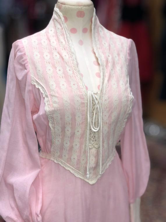 60s black label Gunne Sax pink prairie dress - image 3