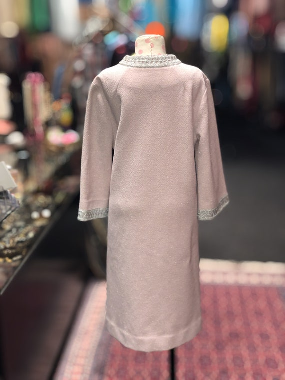 60s pink & silver bell sleeve shift dress by Nard… - image 4