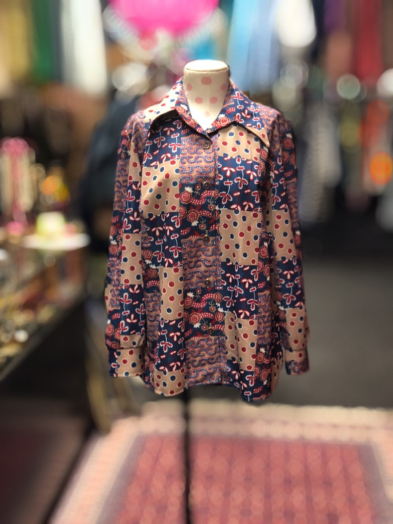 70s Tan Blouse with Red White and Blue Floral Pattern