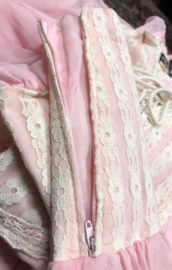 60s black label Gunne Sax pink prairie dress - image 7