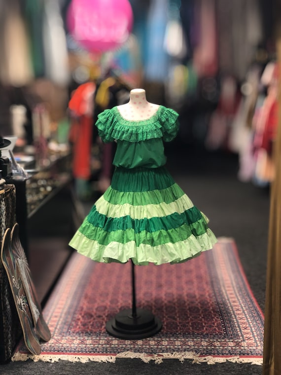 80s green 2pc square dance outfit