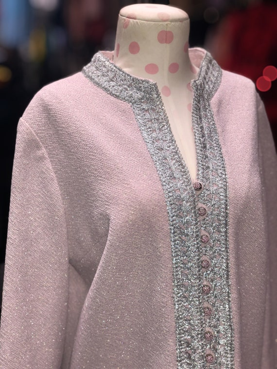 60s pink & silver bell sleeve shift dress by Nard… - image 5