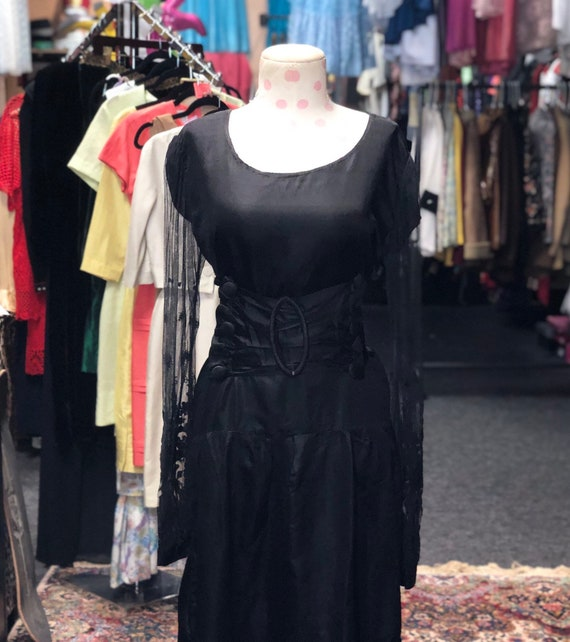 30s 40s silk dress with lace sleeves and wise belt